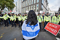 "© Licensed to London News Pictures. 04/11/2017. London, UK.  Pro-Israel protesters show their opposition to the ""Justice Now: Make It Right For Palestine"" demonstration in central London which demands justice and equal rights for Palestinians on the centenary of the Balfour Declaration.  Photo credit: Stephen Chung/LNP"