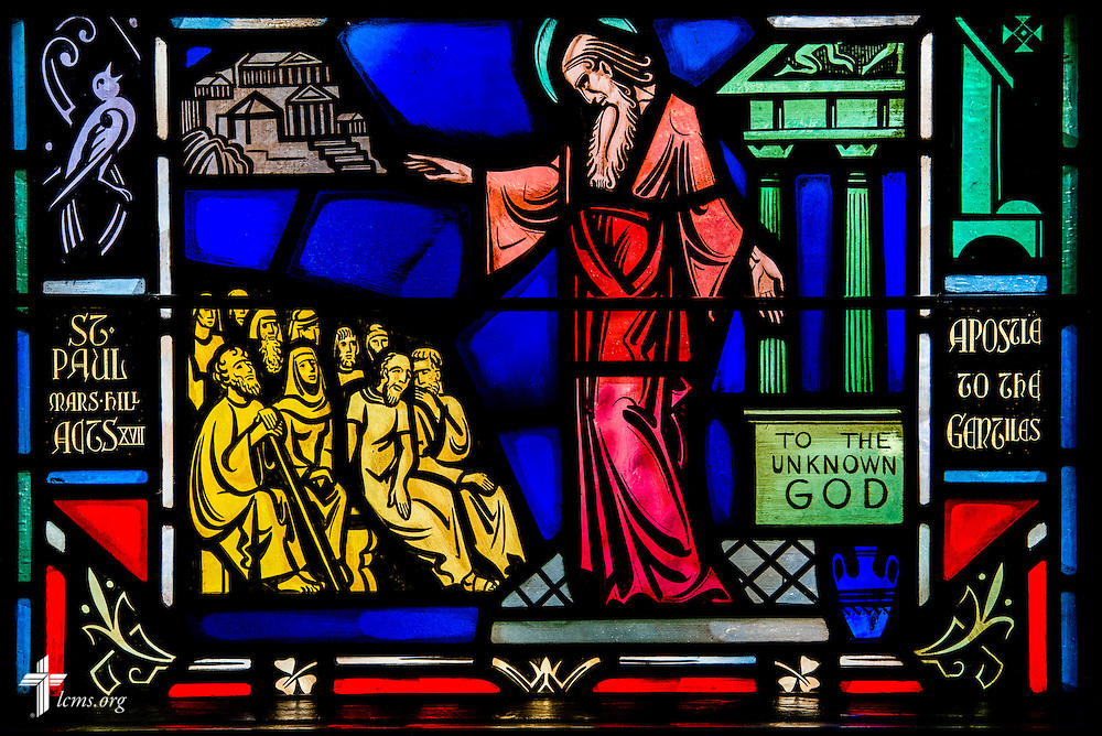 Stained glass at Luther Memorial Chapel depicts St. Paul preaching and teaching to the Gentiles on Friday, Jan. 29, 2016, in Shorewood, Wis. LCMS Communications/Erik M. Lunsford