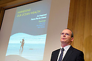 31/07/2012. Repro free first use. Simon Coveney TD, Minister for Agriculture Food and the Marine TD with a Government plan to double the value of Ireland's ocean wealth to 2.4% of GDP by 2030 and increase the turnover from our ocean economy to exceed ?6.4bn by 2020. The report, 'Harnessing Our Ocean Wealth - An Integrated Marine Plan for Ireland' was launched at the Marine Institute,  Galway by An Taoiseach Enda Kenny, TD,. Picture :Andrew Downes..