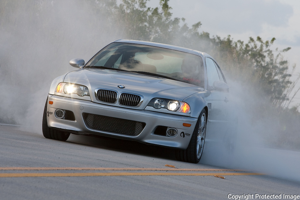 Active Autoworks BMW doing a burnout Client European Car Magazine