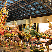 An ornate display in Suvarnabhumi Airport Terminal, Bangkok, Thailand.