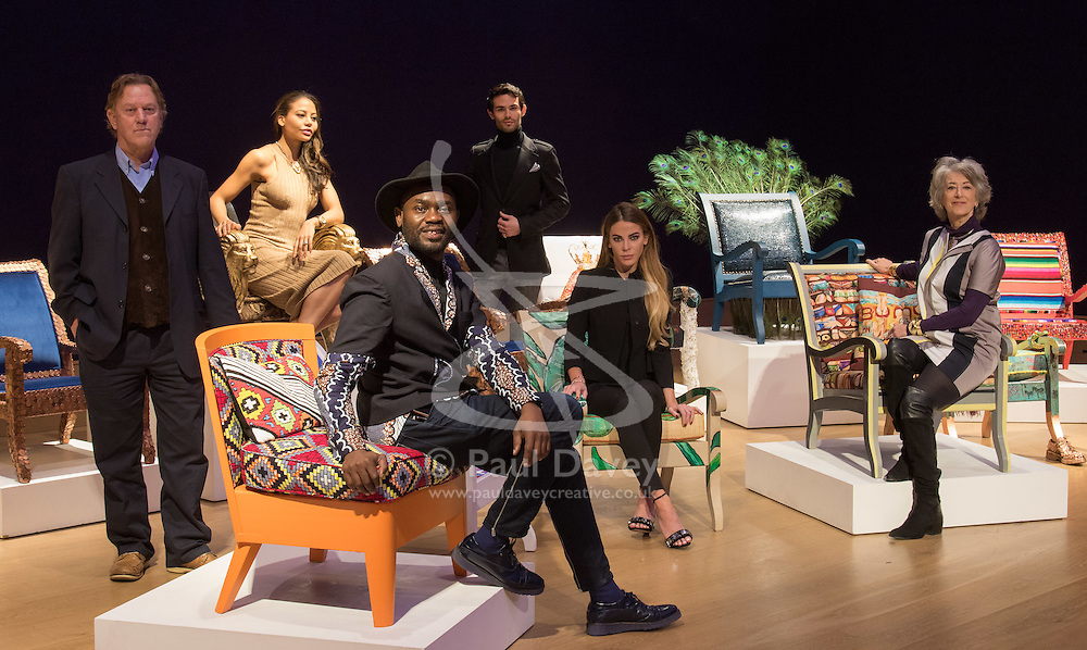 """Bonhams, London, February 29th 2016. L-R: Artist David Bent, Emma, Viscountess Weymouth of Longleat, designer Samson Soboye, Made In Chelsea's Mark Francis Vandelli and Victoria Baker-Harber and actress Maureen Lipman during a photocall for """"Sitting Pretty"""", featuring unique, hand painted and upholstered chairs made by 30 celebrities and artists, at Bonhams ahead of their auction in support of a leading AIDS charity, CHIVA Africa.<br /> ©Paul Davey<br /> FOR LICENCING CONTACT: Paul Davey +44 (0) 7966 016 296 paul@pauldaveycreative.co.uk"""