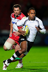 Fiji Winger (#14) Timoci Matanavou in action during the first half of the match - Photo mandatory by-line: Rogan Thomson/JMP - Tel: Mobile: 07966 386802 13/11/2012 - SPORT - RUGBY - Kingsholm Stadium - Gloucester. Gloucester Rugby v Fiji - International Friendly
