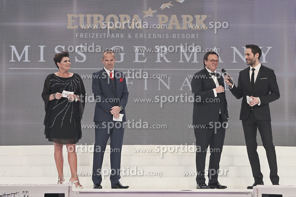 28.02.2015, Europapark Dom, Rust, GER, Miss Germany Wahl 2015, im Bild Ines Klemmer (Moderation), Ralf Klemmer (Geschaeftsfuehrer MissGermany), Roland Mack (GF Europapark), Alexander Mazza (moderation) // during the election to Miss Germany 2015 at the Europapark Dom in Rust, Germany on 2015/02/28. EXPA Pictures &copy; 2015, PhotoCredit: EXPA/ Eibner-Pressefoto/ BW-Foto<br /> <br /> *****ATTENTION - OUT of GER*****