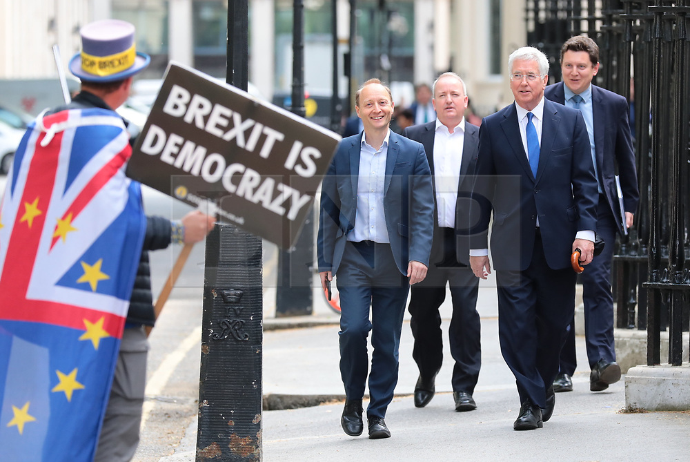 © Licensed to London News Pictures. 12/06/2019. London, UK. Michael Fallon (2-R) arrives at the official launch event for Boris Johnson's campaign to become Leader of the Conservative Party and the next Prime Minister. Photo credit: Rob Pinney/LNP