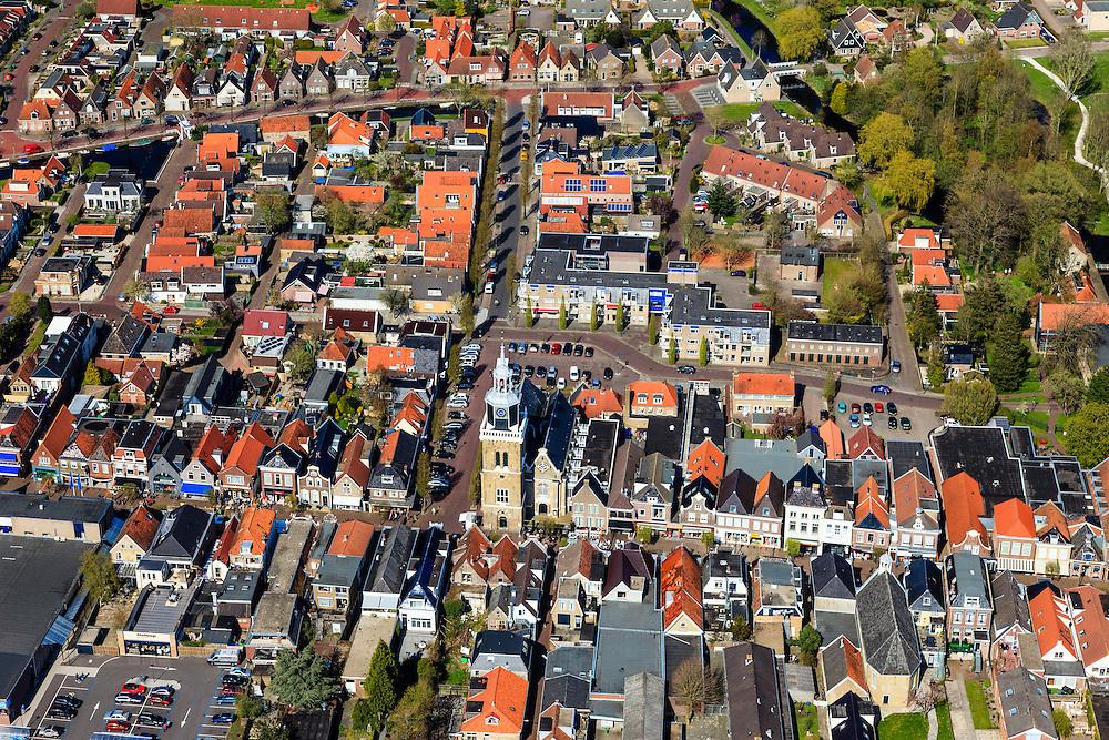 Nederland, Friesland, Gemeente Skarsterlan (Scharsterland), 01-05-2013; Joure, centrum met Hobbe van Baerdt Tsjerke en toren (De Jouster Toer) aan de Midstraat.<br /> Center of the city of Joure (Friesland) north of the Netherlands.<br /> luchtfoto (toeslag op standard tarieven)<br /> aerial photo (additional fee required)<br /> copyright foto/photo Siebe Swart