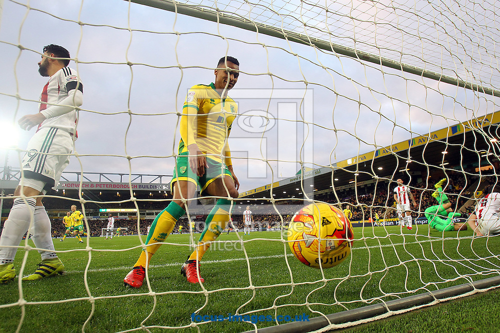 Jacob Murphy of Norwich reacts as an own goal by John Egan of Brentford opens the scoring during the Sky Bet Championship match at Carrow Road, Norwich<br /> Picture by Paul Chesterton/Focus Images Ltd +44 7904 640267<br /> 03/12/2016