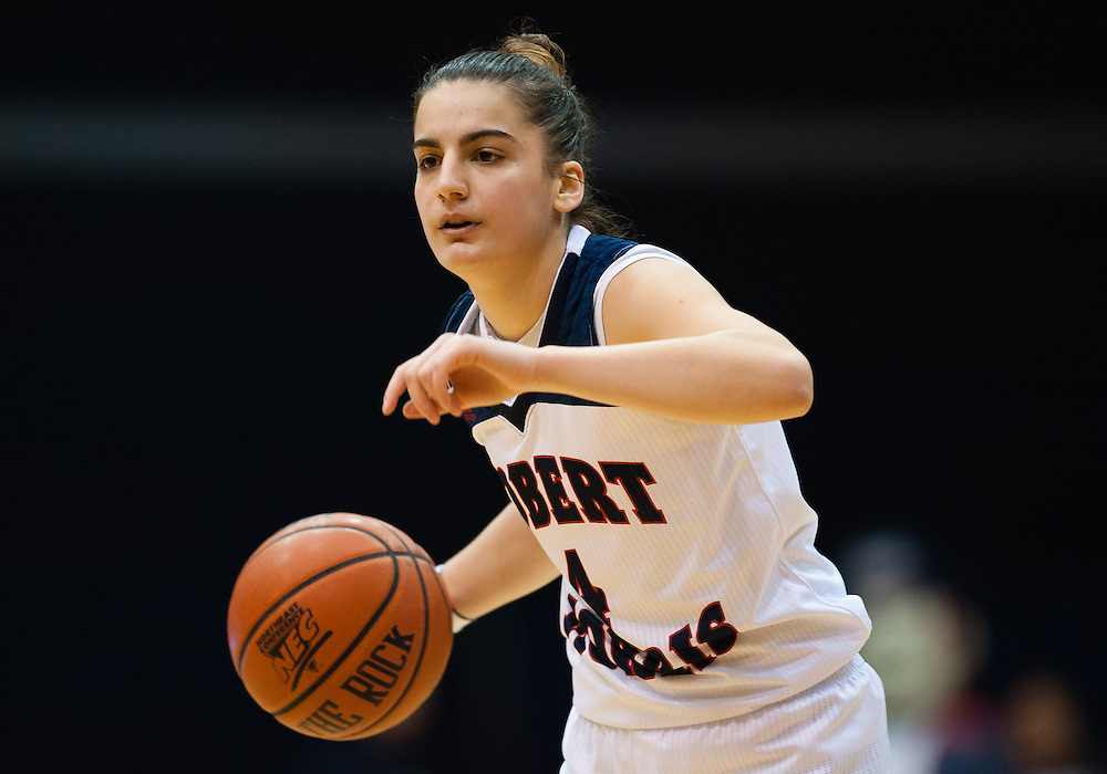 March 6 2016: Robert Morris Colonials guard Anna Niki Stamolamprou (4) handles the ball during the second half in the NCAA Women's Basketball game between the Fairleigh Dickinson Lady Knights and the Robert Morris Colonials at the Charles L. Sewall Center in Moon Township, Pennsylvania (Photo by Justin Berl)