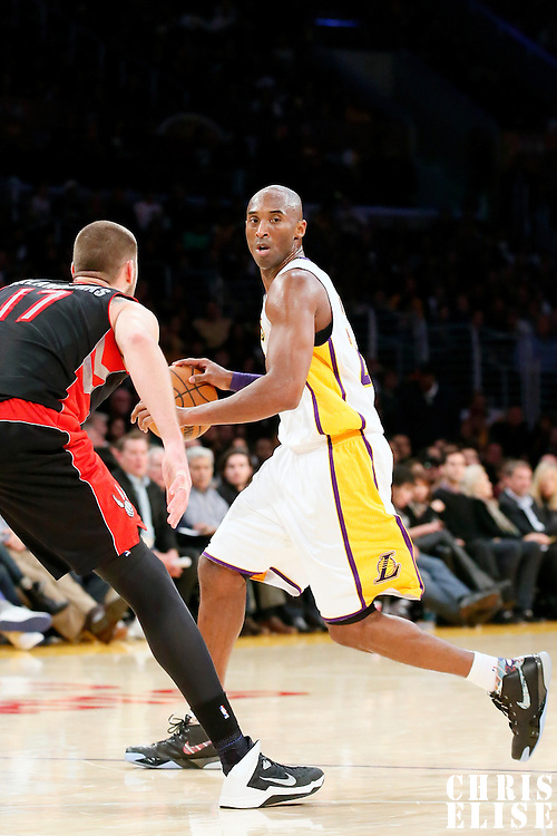08 December 2013: Los Angeles Lakers shooting guard Kobe Bryant (24) dribbles during the Toronto Raptors 106-94 victory over the Los Angeles Lakers at the Staples Center, Los Angeles, California, USA.