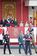 King Felipe VI of Spain, Queen Letizia of Spain, Princess Leonor and Princess Sofia attended the Military Parade during the Spanish National Day on October 12, 2014 in Madrid, Spain