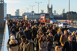 © Licensed to London News Pictures. 02/12/2019. London, UK. Commuters walk to work on London Bridge. Two victims were died following a terrorist attack near London Bridge on 29th November when police shot dead the attacker. Photo credit: Vickie Flores/LNP
