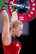Marzena Karpinska from Poland (48&nbsp;kg category) competes during Women's Weightlifting Polish Cup 2014 in Jozefow near Warsaw on March 30, 2014.<br /> Marzena Karpinska won the first Women's Weightlifting Polish Cup.<br /> <br /> Poland, Jozefow, March 30, 2014<br /> <br /> Picture also available in RAW (NEF) or TIFF format on special request.<br /> <br /> For editorial use only. Any commercial or promotional use requires permission.<br /> <br /> Mandatory credit:<br /> Photo by &copy; Adam Nurkiewicz / Mediasport