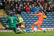 Karlan Grant of Huddersfield Town effort on goal is blocked during the EFL Sky Bet Championship match between Blackburn Rovers and Huddersfield Town at Ewood Park, Blackburn, England on 19 October 2019.