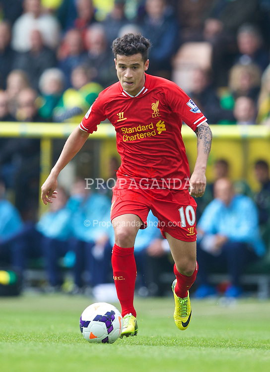 NORWICH, ENGLAND - Sunday, April 20, 2014: Liverpool's Philippe Coutinho Correia in action against Norwich City during the Premiership match at Carrow Road. (Pic by David Rawcliffe/Propaganda)