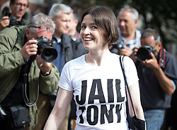 © Licensed to London News Pictures . 06/07/2016 . London , UK . A woman with a JAIL TONY t shirt outside the venue as the report is delivered . Scene outside the Queen Elizabeth II Conference Centre in Westminster , ahead of the publication of the Chilcot Inquiry's report in to the 2003 invasion of Iraq . Photo credit : Joel Goodman/LNP