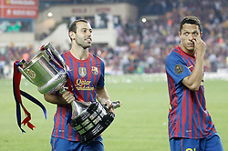 25.05.2012, Vicente Calderon Stadion, Madrid, ESP, Kings Cup Finale, FC Barcelona vs Athletic Bilbao, im Bild Barcelona's Javier Mascherano and Adriano Correia celebrate with trophy // during the Spanish Kings Cup final match between Fc Barcelona and Athletic Bilbao at the Vicente Calderon Stadium, Madrid, Spain on 2012/05/25. EXPA Pictures © 2012, PhotoCredit: EXPA/ Alterphotos/ Alvaro Hernandez..***** ATTENTION - OUT OF ESP and SUI *****