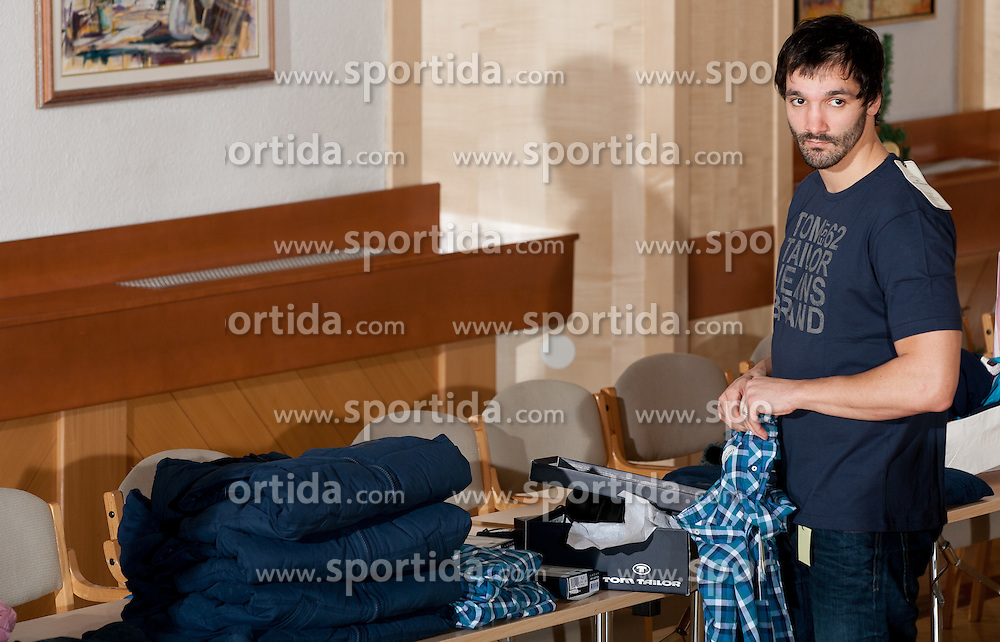 David Spiler of Slovenian Handball Men National Team when they get new clothes of Sportina Group for the EHF European Championship EURO 2012 in Serbia, on January 11, 2011, in Zrece, Slovenia. (Photo by Vid Ponikvar / Sportida)