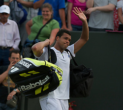 LONDON, ENGLAND - Monday, June 27, 2011: Jo-Wilfried Tsonga (FRA) celebrates winning the Gentlemen's Singles 4th Round match on day seven of the Wimbledon Lawn Tennis Championships at the All England Lawn Tennis and Croquet Club. (Pic by David Rawcliffe/Propaganda)