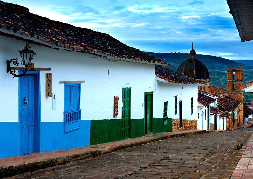 Colombia, Barichara, Colonial Town, National Monument, Santander Province, 18th century Cathedral de la Immaculada Concepcion, Typical Hill Street, Adobe Houses, Hotel