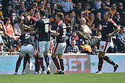rotherham united celebrate Rotherham United midfielder Lee Frecklington (8) scoring to go 1-0 up  during the Sky Bet Championship match between Hull City and Rotherham United at the KC Stadium, Kingston upon Hull, England on 7 May 2016. Photo by Ian Lyall.