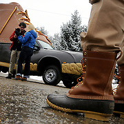 "1/17/12 -- BRUNSWICK, Maine. L.L. Bean CEO Chris McCormick came to Brunswick Manufacturing on Tuesday to kick off the 100th anniversary celebrations --and the starting point of the Bootmobile's national tour. The Bootmobile,  a size 747 replica of the Maine Hunting Shoe, is made from fiberglass and mounted on top of a biodiesel-fueled truck. The plan is to drive it to New York and other places in the US to celebrate L.L.Bean's 100th year in business. The tour started Tuesday at the Brunswick Manufacturing facility where boots, bags, bikes and skis are assembled. McCormick said with a laugh,""Ooh, I'm not driving it. Imagine the headlines - CEO crashes Bootmobile."" The bootmobile is piloted by Ian Bechtel of Portland Ore, a professional driver and tour operator. Photo by Roger S. Duncan. .."