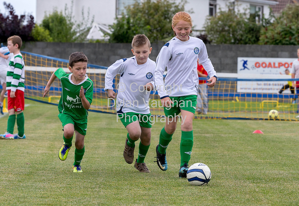 No Charge for repro<br /> <br /> 31/8/2013<br /> Future Football Family Fun Day comes to Dungarvan!<br /> McDonald's Restaurants in Dungarvan, Clonmel, Cashel, Kilkenny and Wexford which are owned and operated by Chris Pim, Siobhan Sleator and Bernard Byrne;  the Football Association of Ireland (FAI) and local football clubs Dungarvan Utd AFC, Clonmel Celtic FC, Wexford Celtic FC and Evergreen FC teamed up to host a free community fun day on Sunday 31st of August. The Family Fun day was part of McDonald&rsquo;s FAI Future Football, a brand new programme supporting the development of football at grassroots level in clubs nationwide.<br /> <br /> Pictured at the Future Football Family Fun Day was participants from Clonmel Celtic FC, Darragh Kennedy,Tyler Vickers and Sophia Forristal.<br /> <br /> Picture Dylan Vaughan.