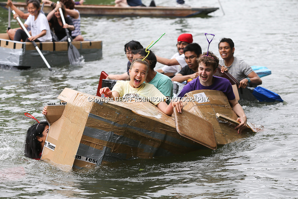 PIC BY GEOFF ROBINSON PHOTOGRAPHY 07976 880732.<br /> <br /> PIC SHOWS CAMBRIDGE STUDENTS  IN CAMBRIDGE ON SUNDAY AFTERNOON JUNE 15TH AS THEY CELEBRATED THE END OF EXAMS ON SUICIDE SUNDAY WITH A CARDBOARD BOAT RACE.<br /> <br />  Hundreds of students at Cambridge University ended their drunken end-of-exam celebrations last night (Sun) with a PUNT race down the River Cam.<br /> <br /> Teams of undergraduates battled it out on the river with a boozy boat race along the historic Backs as part of the notorious Suicide Sunday events.<br /> <br /> Many of the students were dressed in funny glasses, fake moustaches and scientist lab coats as they ferociously paddled from the Mill Pond to Garret Hostel Bridge.<br /> <br /> Lots of the participants struggled to navigate in a straight line as they downed bottles of wine and cans of beer.<br /> <br /> Earlier in the day other students caused chaos on the river in a CARBOARD box boat race from Jesus Green to Magdalene Bridge.