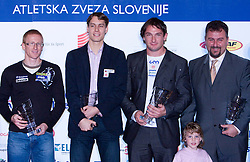Matic Osovnikar, Rozle Prezelj, Primoz Kozmus and coach Vladimir Kevo at Best Slovenian athlete of the year ceremony, on November 15, 2008 in Hotel Lev, Ljubljana, Slovenia. (Photo by Vid Ponikvar / Sportida)