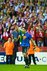 LIVERPOOL, ENGLAND - Wednesday, September 16, 2009: Debreceni's goalkeeper Vukasin Poleksic applauds the supporters after his side's 1-0 defeat by Liverpool during the UEFA Champions League Group E match at Anfield. (Photo by David Rawcliffe/Propaganda)