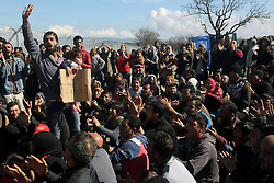 Refugees and migrants protest at Eidomeni, Greece, on Feb. 27, 2016, as they are not allowed to cross the border between Greece and the Former Yugoslav Republic of Macedonia (FYROM). For the second consecutive day, border crossing is forbidden, thus trapping on the borderline thousands of refugees and migrants who are unable to carry on their journeys. (/Marios Lolos)(azp). EXPA Pictures © 2016, PhotoCredit: EXPA/ Photoshot/ Marios Lolos<br /><br />*****ATTENTION - for AUT, SLO, CRO, SRB, BIH, MAZ only*****