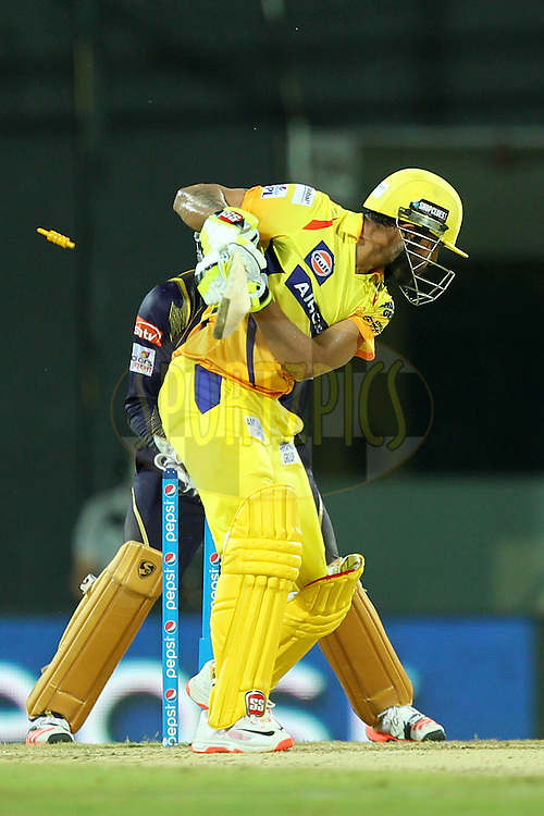 Ravindra Jadeja of Chennai Super Kings bowled by Brad Hogg during match 28 of the Pepsi IPL 2015 (Indian Premier League) between The Chennai Superkings and The Kolkata Knight Riders held at the M. A. Chidambaram Stadium, Chennai Stadium in Chennai, India on the 28th April 2015.Photo by:  Prashant Bhoot / SPORTZPICS / IPL