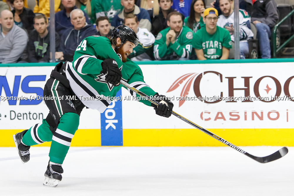 29 DEC 2014: Dallas Stars Defenceman Jordie Benn (24) [7189] during the NHL game between the New York Rangers and the Dallas Stars at the American Airlines Center in Dallas, TX.