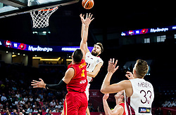Zanis Peiners of Latvia vs Nikola Vucevic of Montenegro during basketball match between National Teams of Latvia and Montenegro at Day 11 in Round of 16 of the FIBA EuroBasket 2017 at Sinan Erdem Dome in Istanbul, Turkey on September 10, 2017. Photo by Vid Ponikvar / Sportida