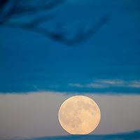 A large moon rising over the town of Keansburg NJ