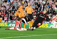 Britannia Stadium Stoke City v Wolverhampton Wanderers 31/10/09<br /> James Beattie  (Stoke) scores  opening goal<br /> Photo Roger Parker Fotosports International