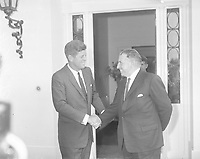 IND95219<br /> American President John Fitzgerald Kennedy (JFK)'s visit to Ireland, President Kennedy at the US Embassy in Dublin after talks with An Taoiseach Sean Lemass, The President then left for a visit to his ancestral home in Wexford, 27/06/1963  (Part of the Independent Newspapers Ireland/NLI Collection).