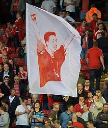 LIVERPOOL, ENGLAND - Monday, August 24, 2009: A Liverpool fans' flag of legend Robbie Fowler during the Premiership match at Anfield. (Photo by David Rawcliffe/Propaganda)
