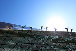 September 11, 2017 - Shenyan, Shenyan, China - Shenyang, CHINA-11th September 2017: (EDITORIAL USE ONLY. CHINA OUT)..Eight window cleaners clean the diamond shaped building Shengjing Grand Theater in Shenyang, northeast China's Liaoning Province, preparing for the upcoming marathon event. (Credit Image: © SIPA Asia via ZUMA Wire)