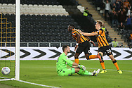 Adama Diomande of Hull City celebrates scoring his side&rsquo;s 1st goal during the Sky Bet Championship match at the KCOM Stadium, Hull<br /> Picture by Paul Chesterton/Focus Images Ltd +44 7904 640267<br /> 25/08/2017
