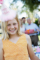 Girl Wearing Birthday Hat