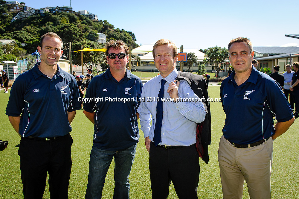Sports Minister Hon Dr Jonathan Coleman (3rd in line) with management from Sport NZ after he spoke at the Sport NZ Strategy Launch, Lyall Bay School, Wellington, New Zealand. Friday 20 March 2015. Copyright Photo: Mark Tantrum/www.Photosport.co.nz