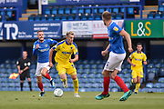AFC Wimbledon Forward, Joe Piggott (39) runs at the Portsmouth defence during the Carabao Cup match between Portsmouth and AFC Wimbledon at Fratton Park, Portsmouth, England on 14 August 2018.