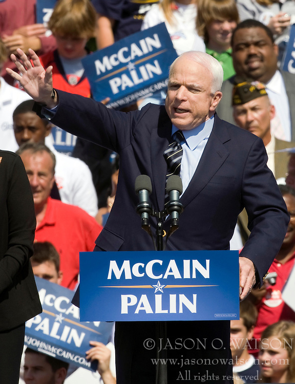 "Sen. John McCain on the campaign trail in Virginia. 2008 Republican Presidential nominee Senator John McCain (R-AZ) and Governor Sarah Palin (R-AK) held a ""Road to Victory Rally"" in front of an estimated 23,000 supporters in Van Dyke Park in Fairfax, VA on September 10, 2008."