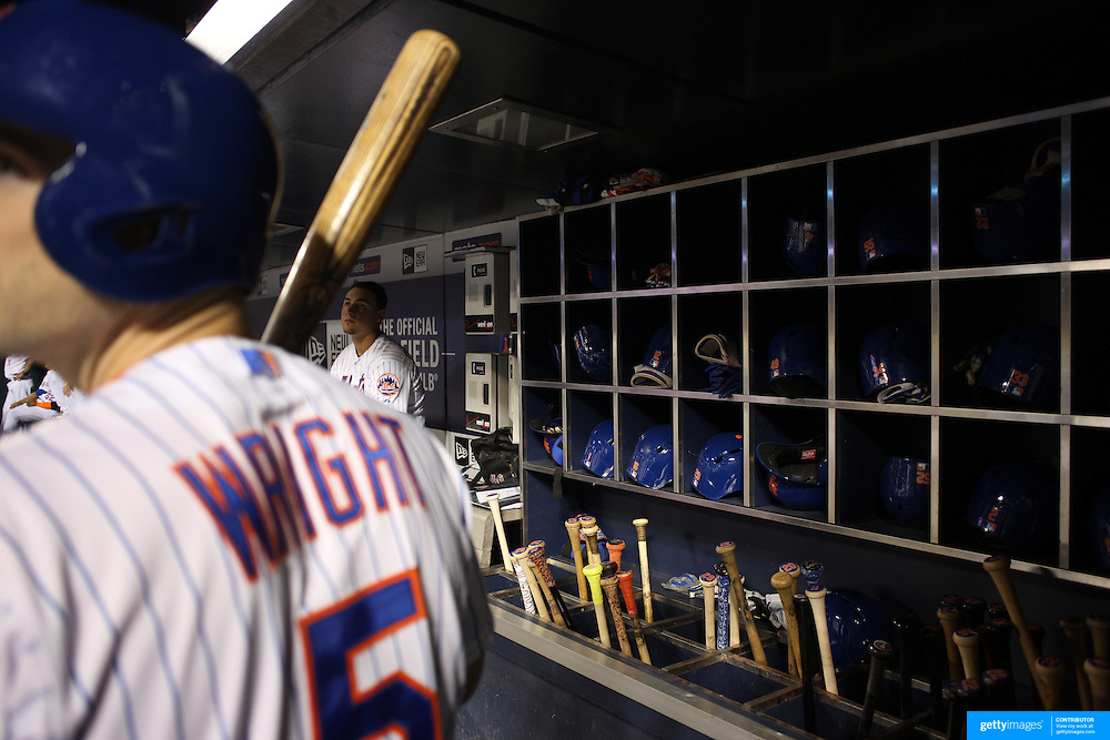 David Wright, (left) and Michael Conforto, New York Mets, preparing to bat in the dugout during the New York Mets Vs Atlanta Braves MLB regular season baseball game at Citi Field, Queens, New York. USA. 22nd September 2015. Photo Tim Clayton