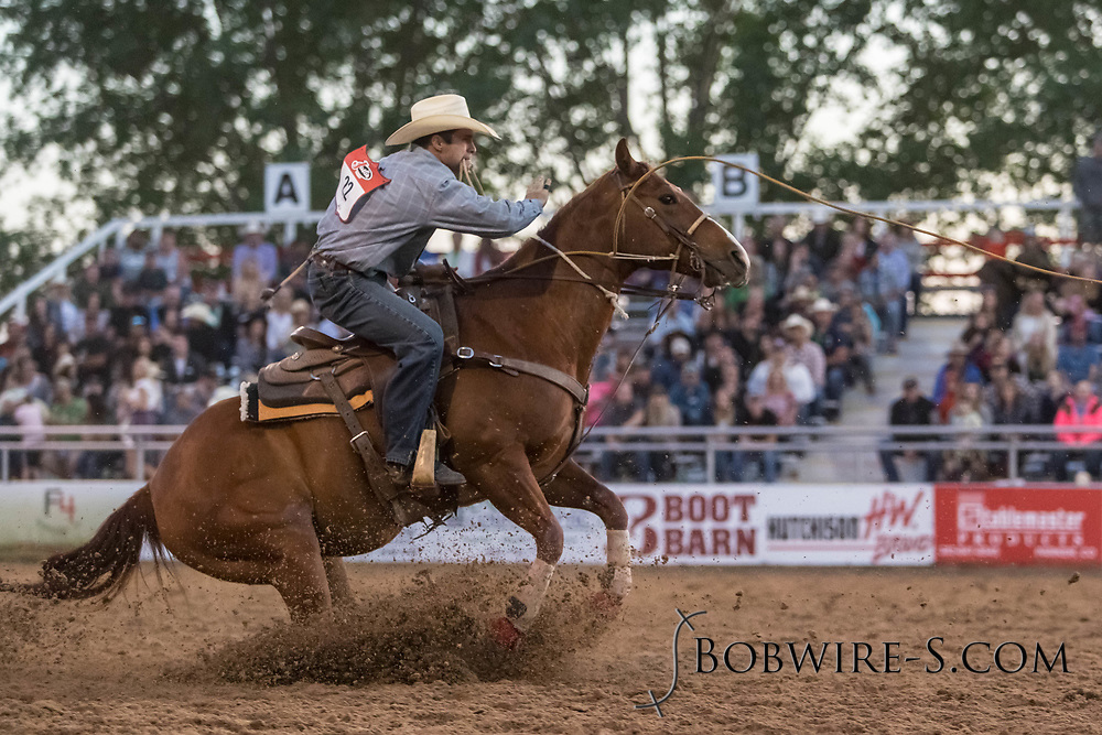 Tie-down roper Ryan Belew makes his run during the second performance of the Elizabeth Stampede on Saturday, June 2, 2018.