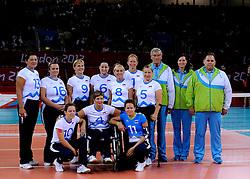 01-09-2012 ZITVOLLEYBAL: PARALYMPISCHE SPELEN 2012 USA - SLOVENIE: LONDEN<br />In ExCel South Arena wint USA van Slovenie / Team Slovenia<br />©2012-FotoHoogendoorn.nl