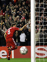 Photo: Paul Thomas.<br /> Liverpool v Bordeaux. UEFA Champions League, Group C. 31/10/2006.<br /> <br /> Steven Gerrard celebrates his goal for Liverpool