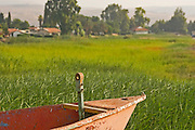 Israel, Sea of Galilee, fishing boat on the lake. Kibbutz Ginosar in the background