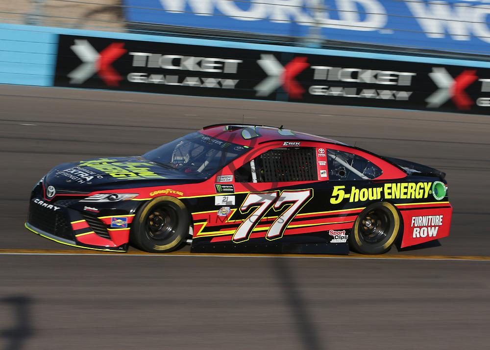 Erik Jones qualifies for Sunday's NASCAR Cup Series auto race on Friday, March 17, 2017, in Avondale, Ariz.  (AP Photo/Rick Scuteri)