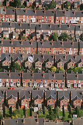Aerial view of rows of terraced housing in Forest Fields; Nottingham,